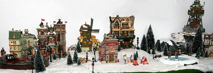 kerstboom eruit en dorp