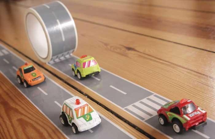 autoweg maken, tape