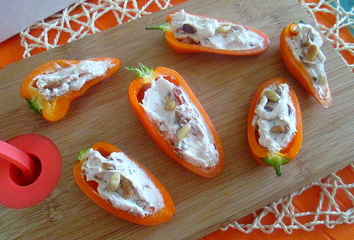 oranje eten paprika snack