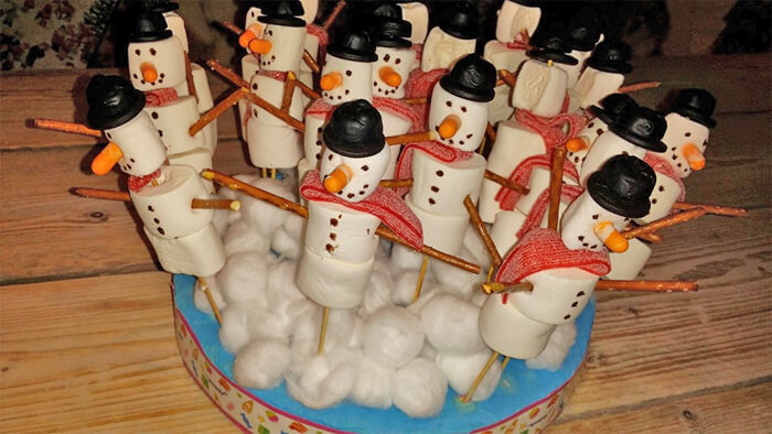 wintertraktatie sneeuwpop met marshmallows