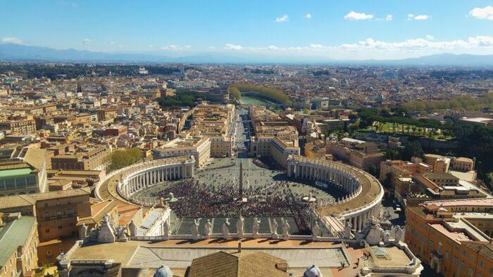 stedentrip rome, sint pieter plein vanaf koepel