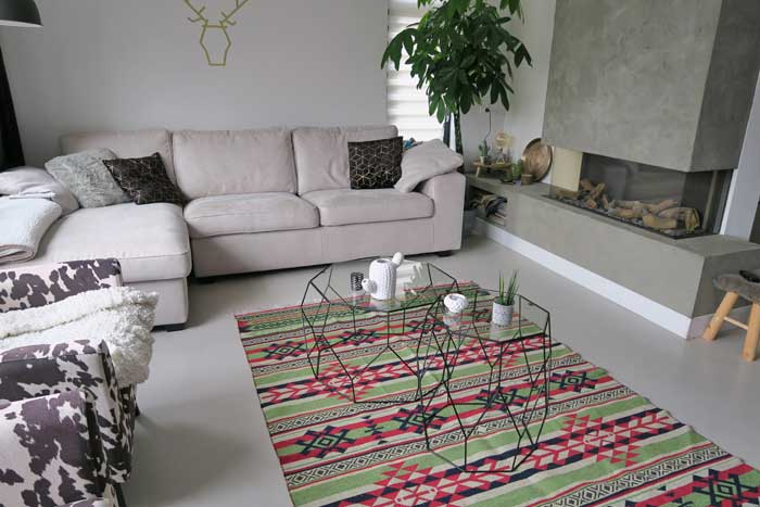 inrichting in huis kilim rug kindred