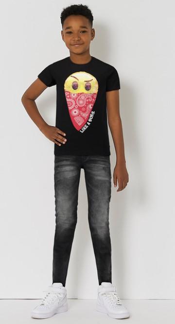 omkeerbare pailletten shirt zwart
