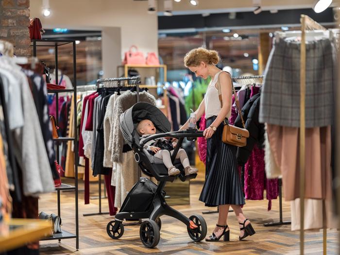 Stokke Xplory kinderwagen makkelijk winkelen