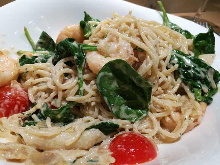 scampi et spinazi