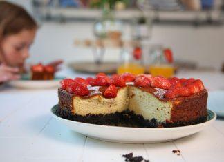 gezonde taart, aardbeien cheesecake