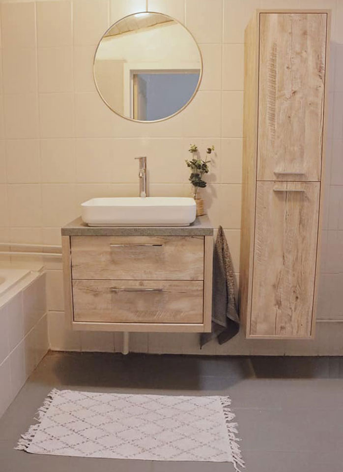 badkamer, houten wastafelmeubel, niet duur