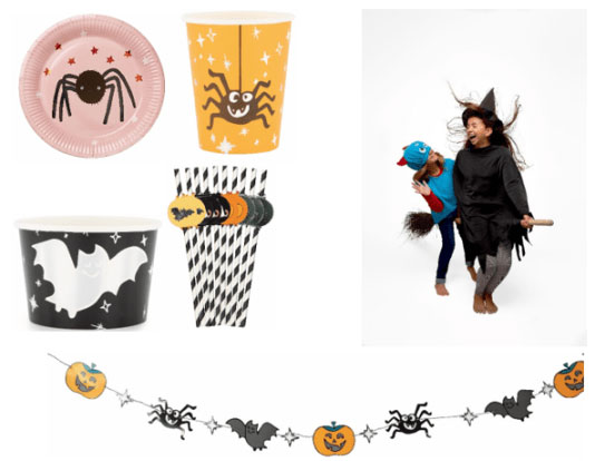 Halloween bordjes, bekers en slingers