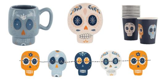 Halloween decoratie van de Hema, met doodshoofden