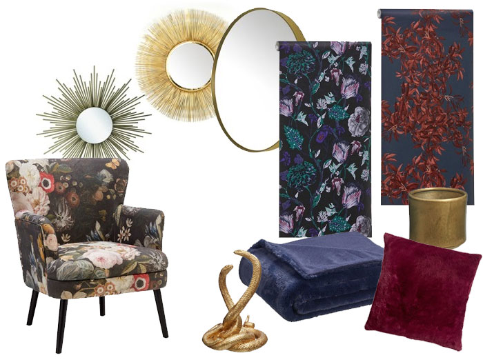 woonstijlen dit najaar; mystic Flora met bloemmotief, gouden accessoires en donkere tinten