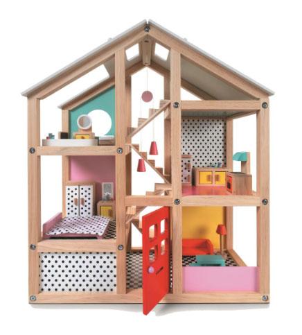 houten poppenhuis, gemeubileerd van de Hema