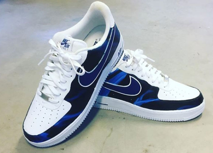 print zomer sneakers in blauw