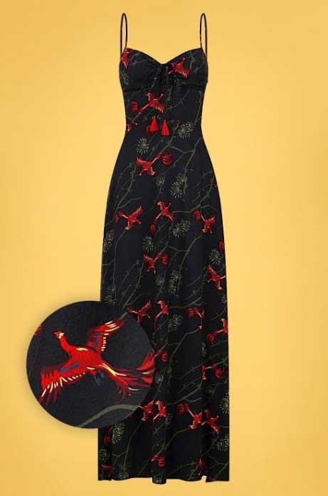 Prachtige maxidress in zwart met rood