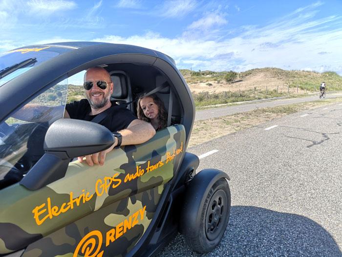 gps tour met elektrische auto's van Renzy, leuk voor het hele gezin!