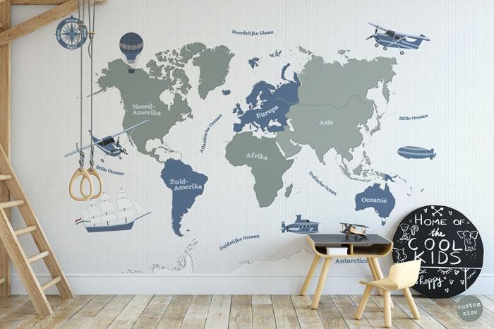 behang jongenskamer wereldkaart