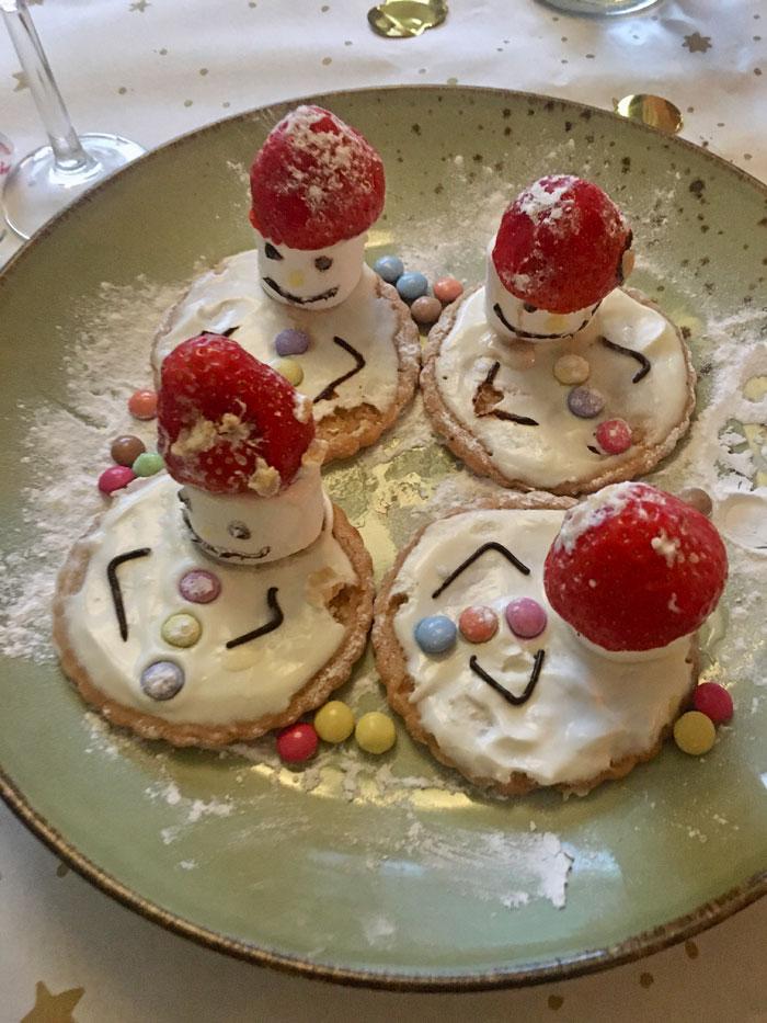 sneeuwpopkoeken voor het kerstdiner