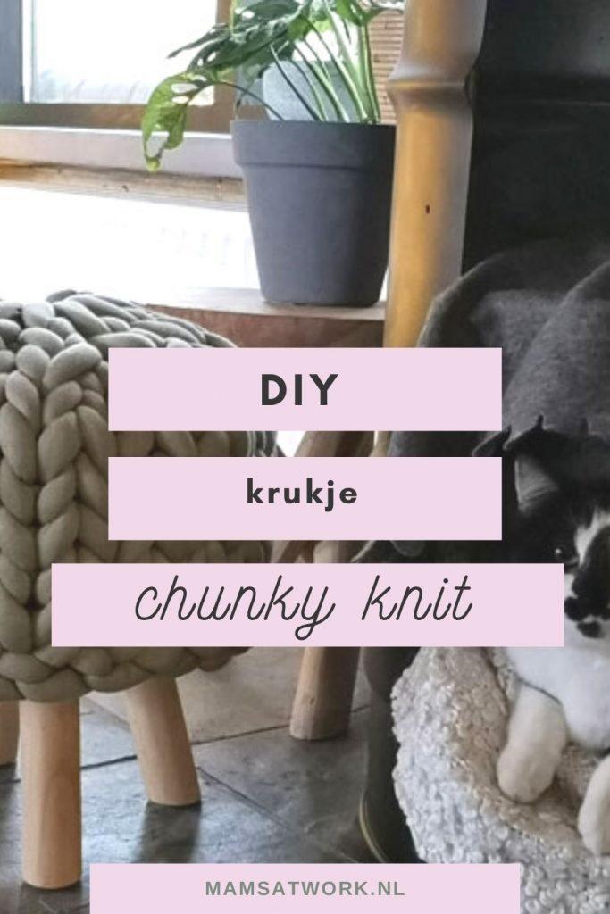 DIY een krukje maken met chuncky knit grof gebreide wol of katoenen tubes