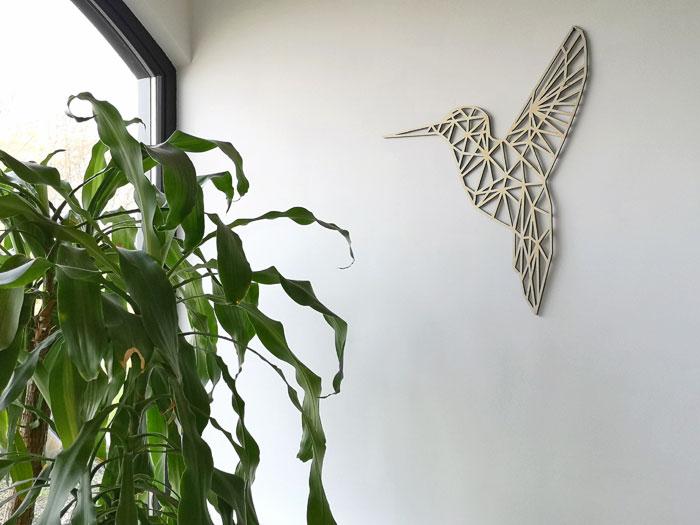 houten wanddecoratie kolibrie van berkenhout, geometrisch dier