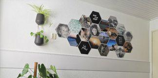 muurdecoratie puberkamer met hexagons
