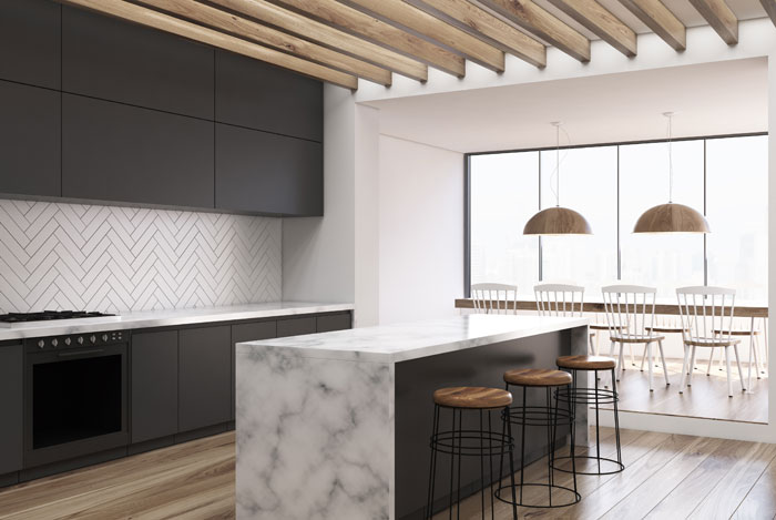 marmer look in huis, keuken, eettafel of badkamer