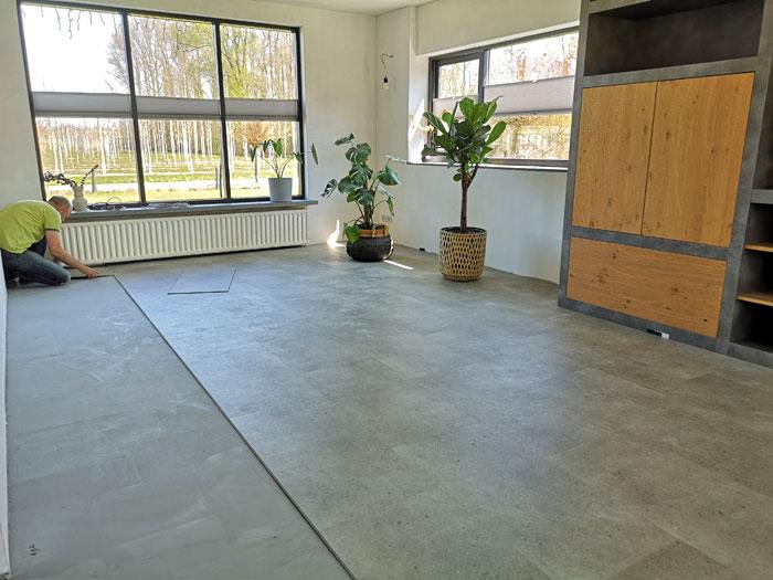 pvc betonlook vloer leggen